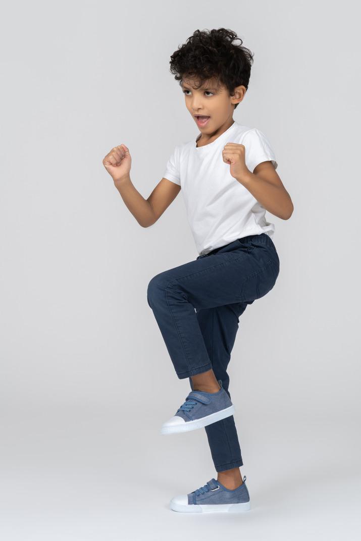 A boy doing exercises