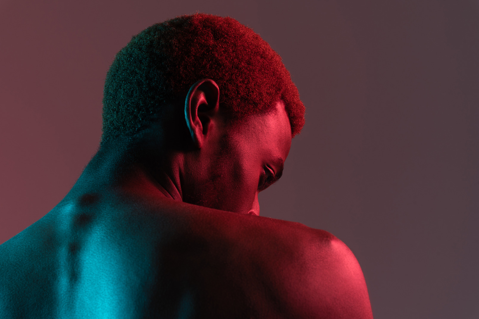 Back view of a young black man