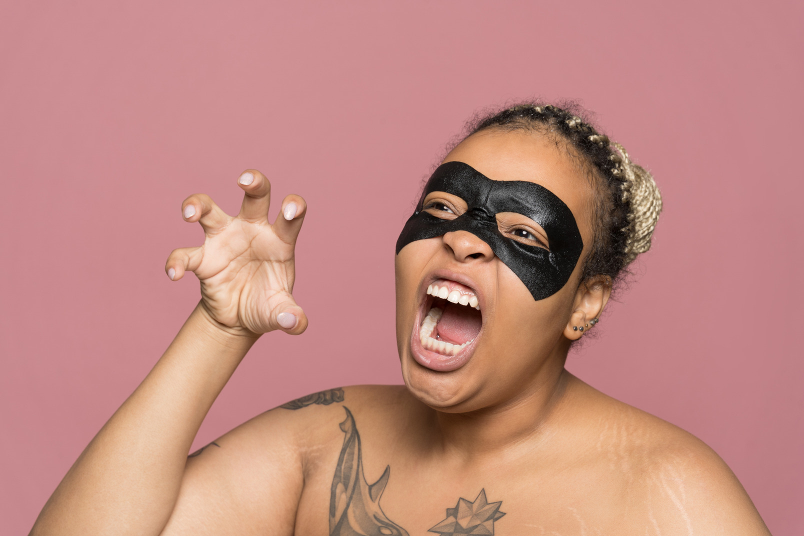 Plump african-american woman scaring others