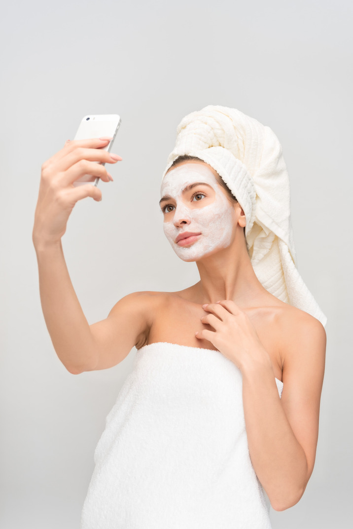 After shower and with mask looks like a decent look for selfie