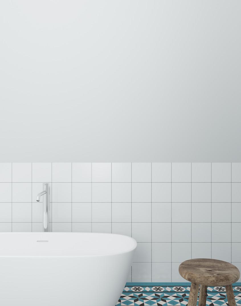 Modern white minimalist bathroom
