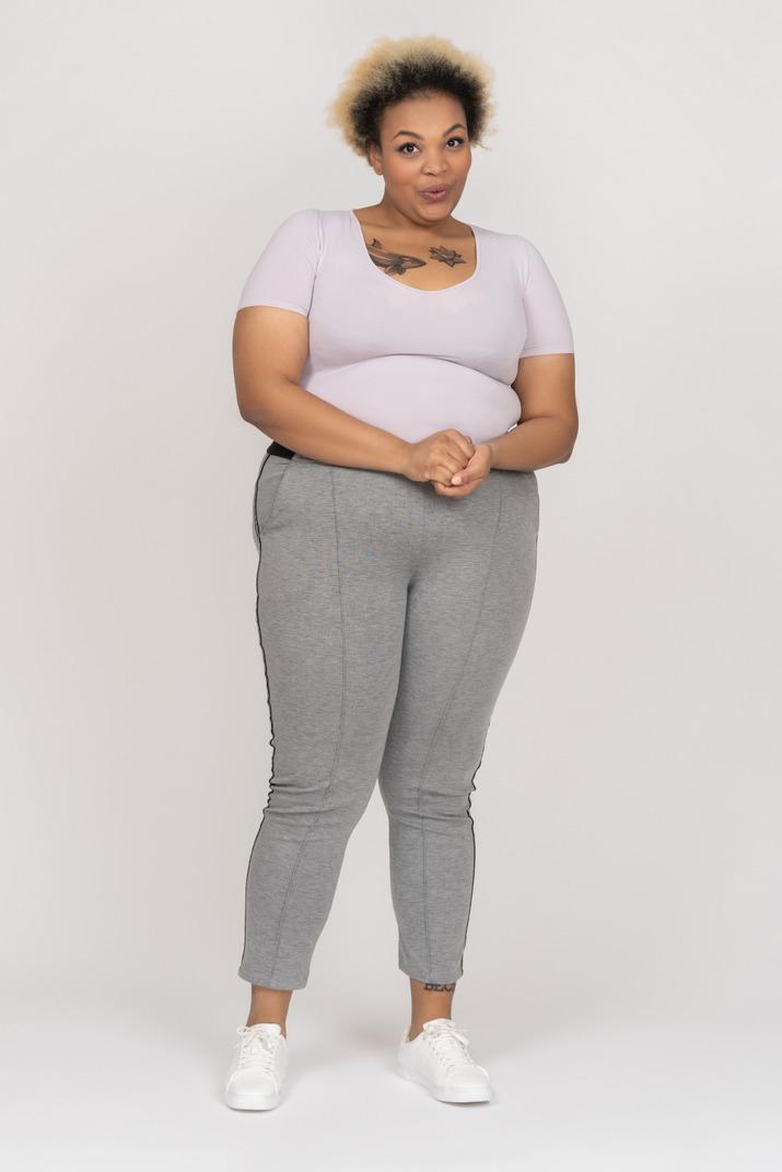 Portrait of a cute dark skinned female