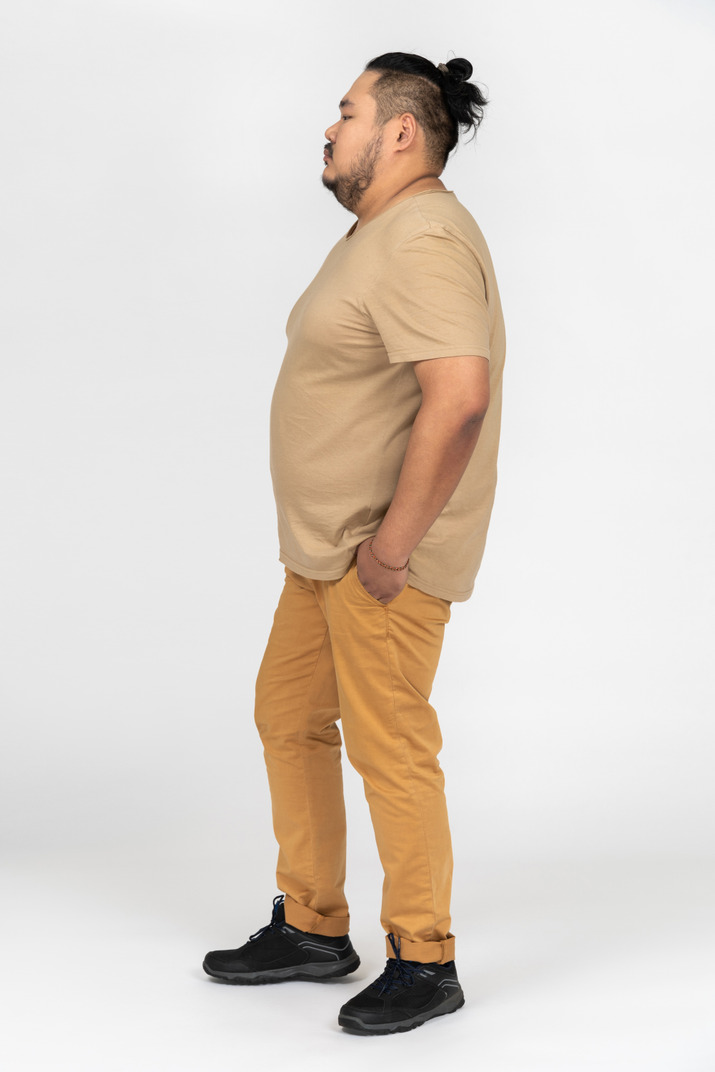 Thoughtful asian man holding hands in pockets
