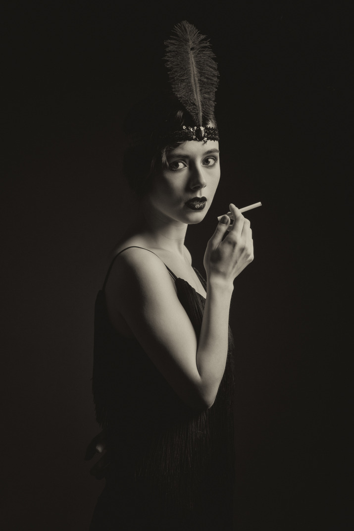 Retro-styled woman with a cigarette