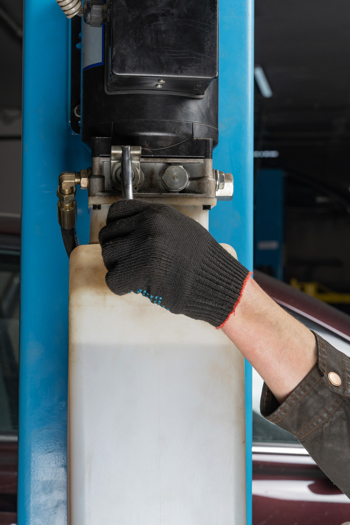 Human hand working with technical equipment