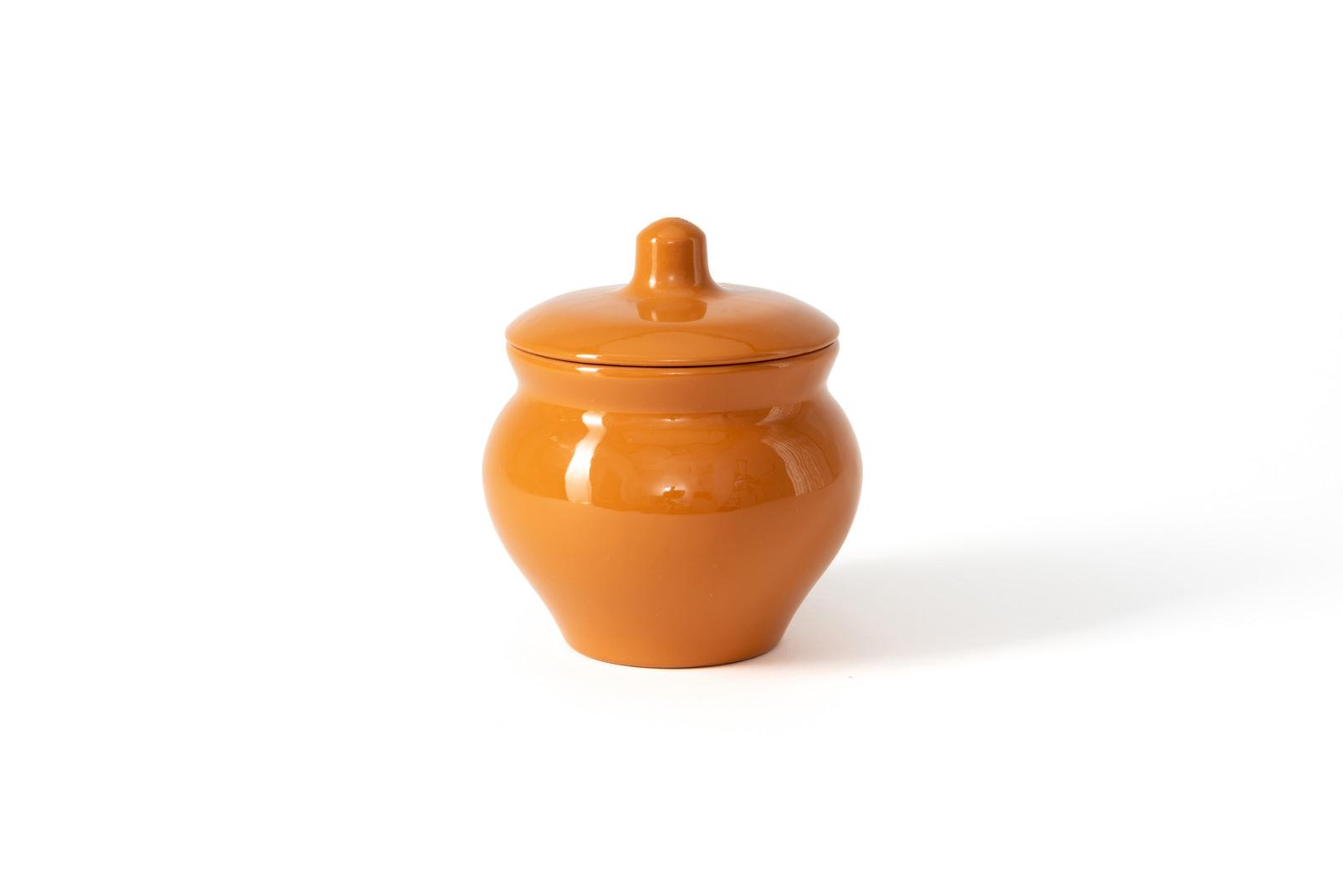 Glazed terracota pot with a lid