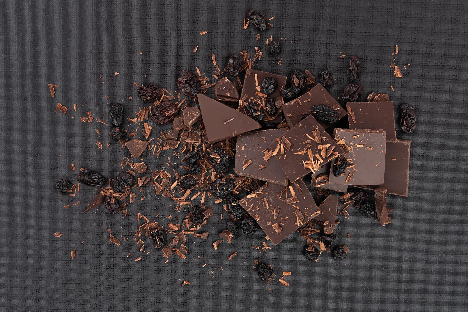 Dunkle schokolade mit rosinen und gewürzen abgestürzt