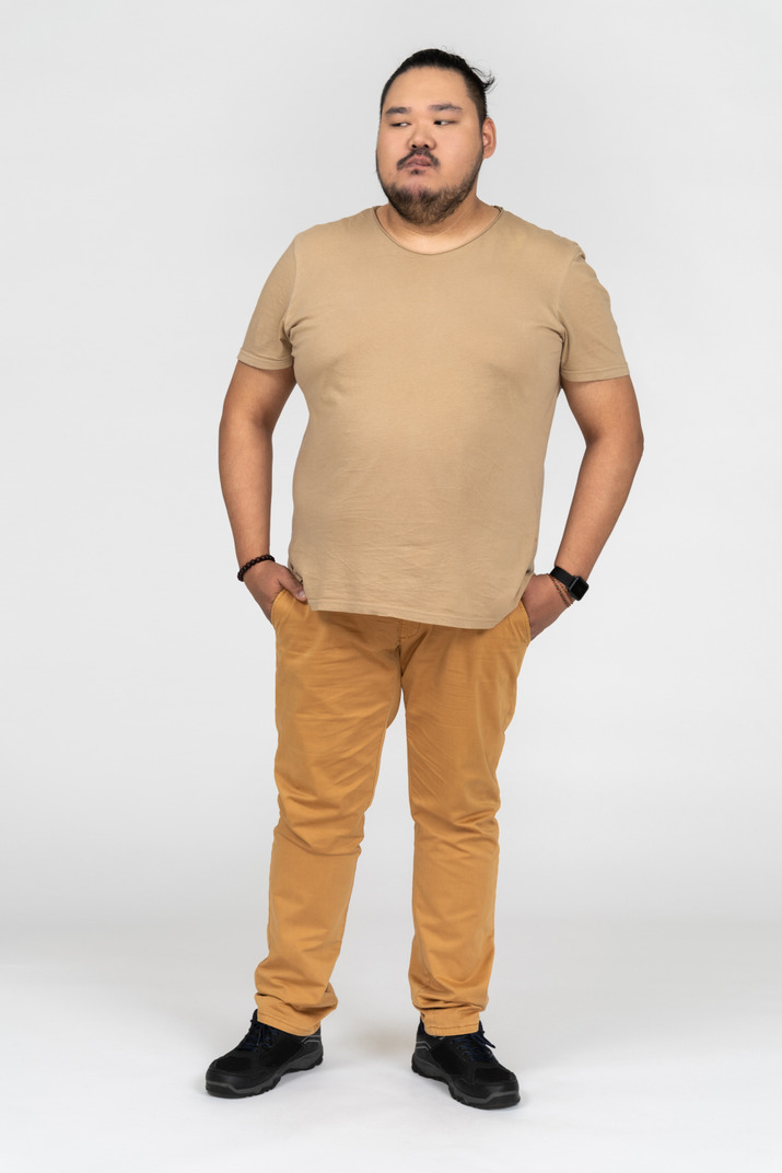 A serious asian man looking sideways