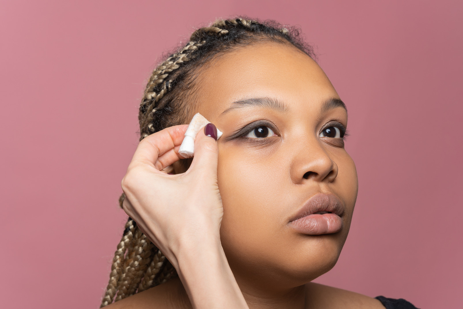 Removing excessive eye shadow