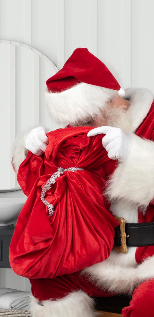 Santa auf der suche nach ihrem geschenk
