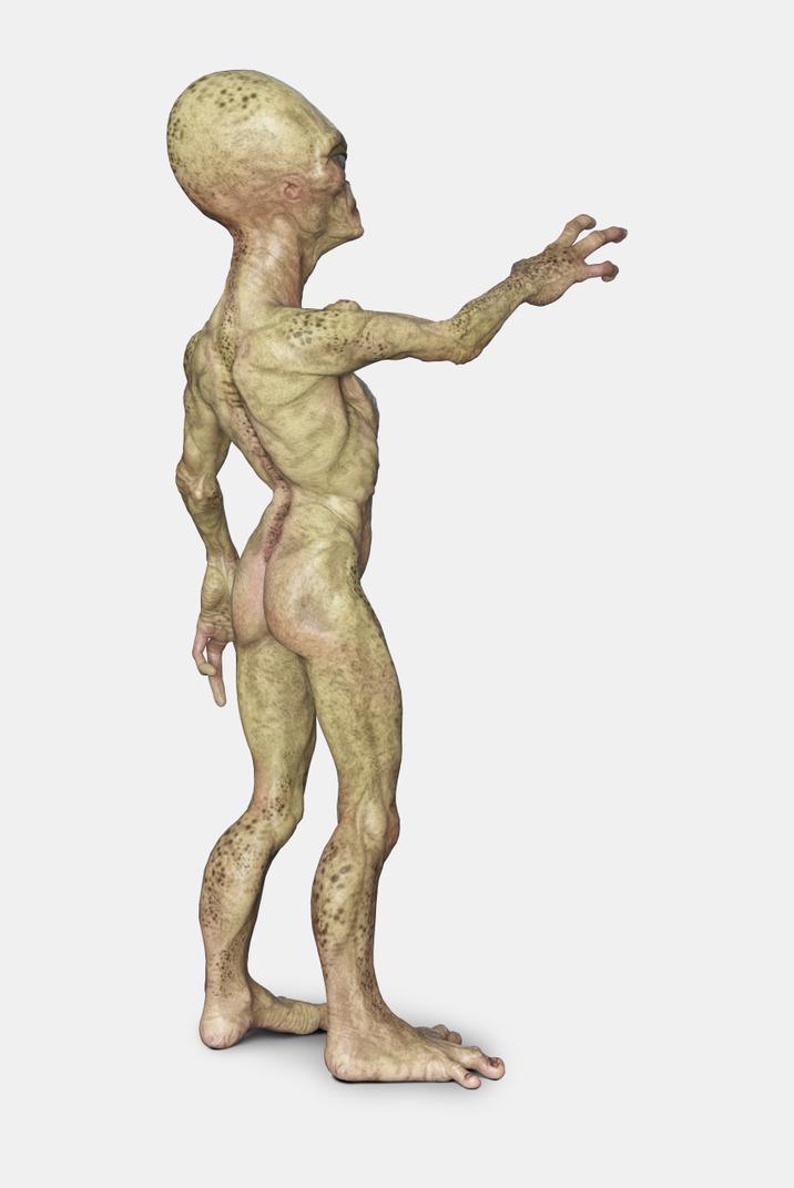 Alien standing with hands up
