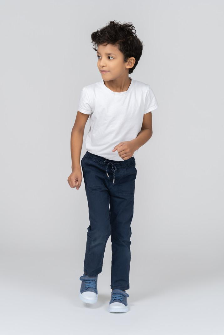 A walking boy