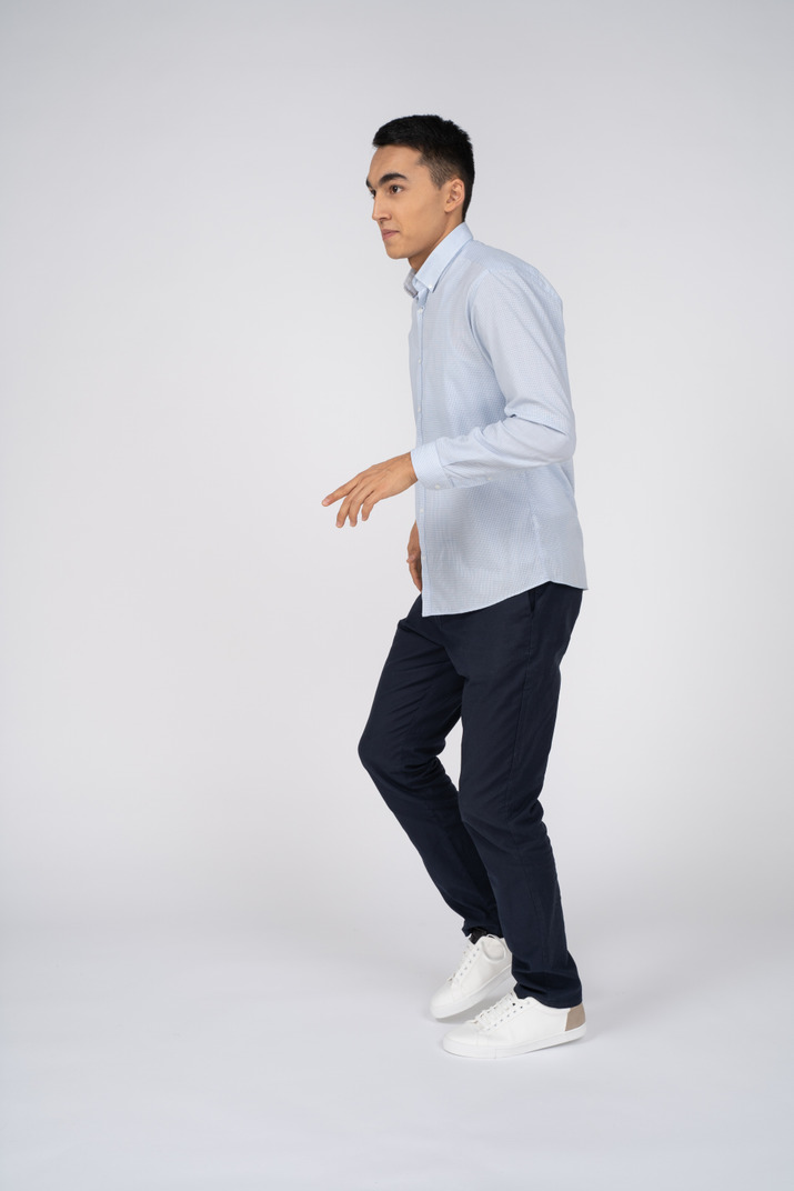 Man in casual clothes walking